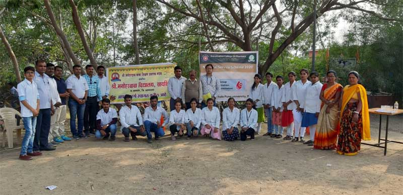 amrutvahini college of pharmacy, sangamner NSS camp 2020 blood group determination